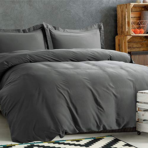 Bedsure 100% Bamboo Duvet Cover Set Full/Queen Size - Silky and Soft Touch Comforter Cover - 3 Piece Set (1 Duvet Cover+2 Pillow Shams) with Corner Ties, Button Closure