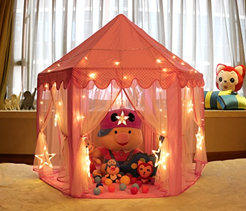 Indoor Play Tent - Princess Play Tent with star lights that will keep kids entertained all year round.