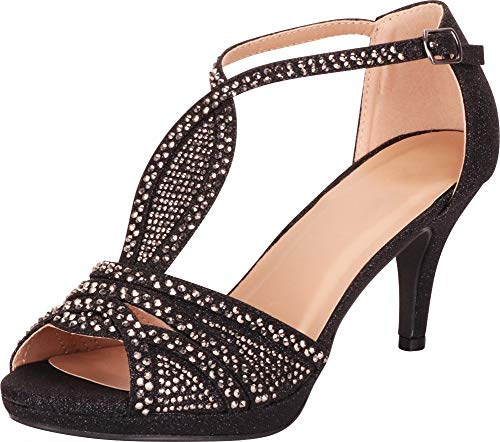 Cambridge Select Women's Open Toe Crystal Rhinestone Mid Heel Sandal (10 B(M) US, Black Glitter)