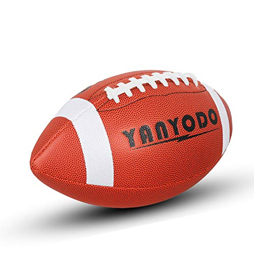 YANYODO Official Size 9 Footballs, Super Grip Composite Football Training & Recreation Play, Microfiber Leather Cover for Youth League College High School (White - Grip Ball Microfiber