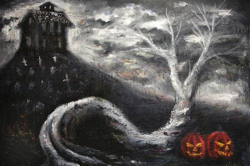 Black Market Art Haunted Mansion by Bobby Holland Halloween Jack O Lanterns Tattoo Fine Art Print