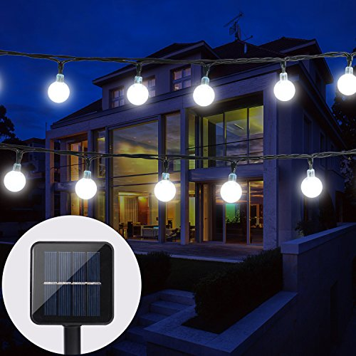 BAOANT Solar String Lights Fairy lights 20Ft 30 LED Crystal Ball String Lights Starry Lights Globe String Lights for Garden Home Patio Indoor Outdoor(White) - 15' Led Light String