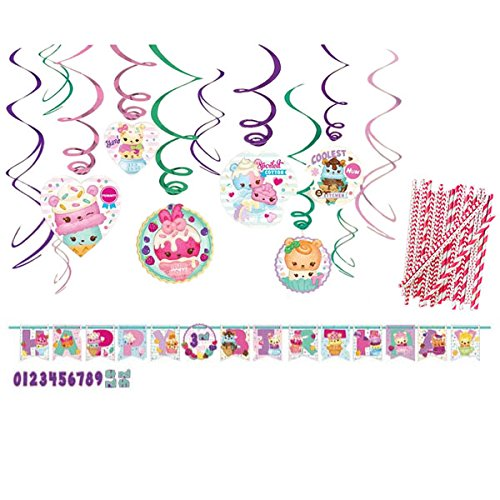 Cedar Crate Market Num Noms Party Decorations Party Supplies Pack: Straws, Hanging Swirls, and Jumbo Add-an-Age Banner