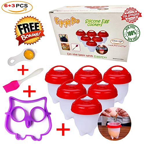 EggyDo Silicone Egg Cooker Set - Hard and Soft Boiler Without Shell for Easier Breakfast Enriched with Brush, Yolk Separator and Owl Shaped Mold Gifts – BPA Free, Non-Stick (Pack of 9)