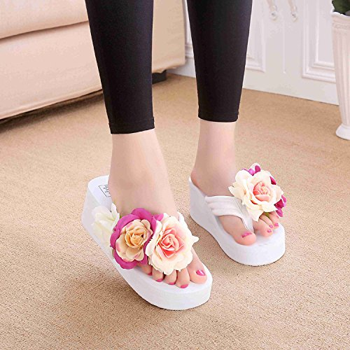 Heels XKNSLX and Hand Heel Flip Lady's Casual Slippers High High Pure Slippers Flowers Slippers Pink Flops rUq1xUw7