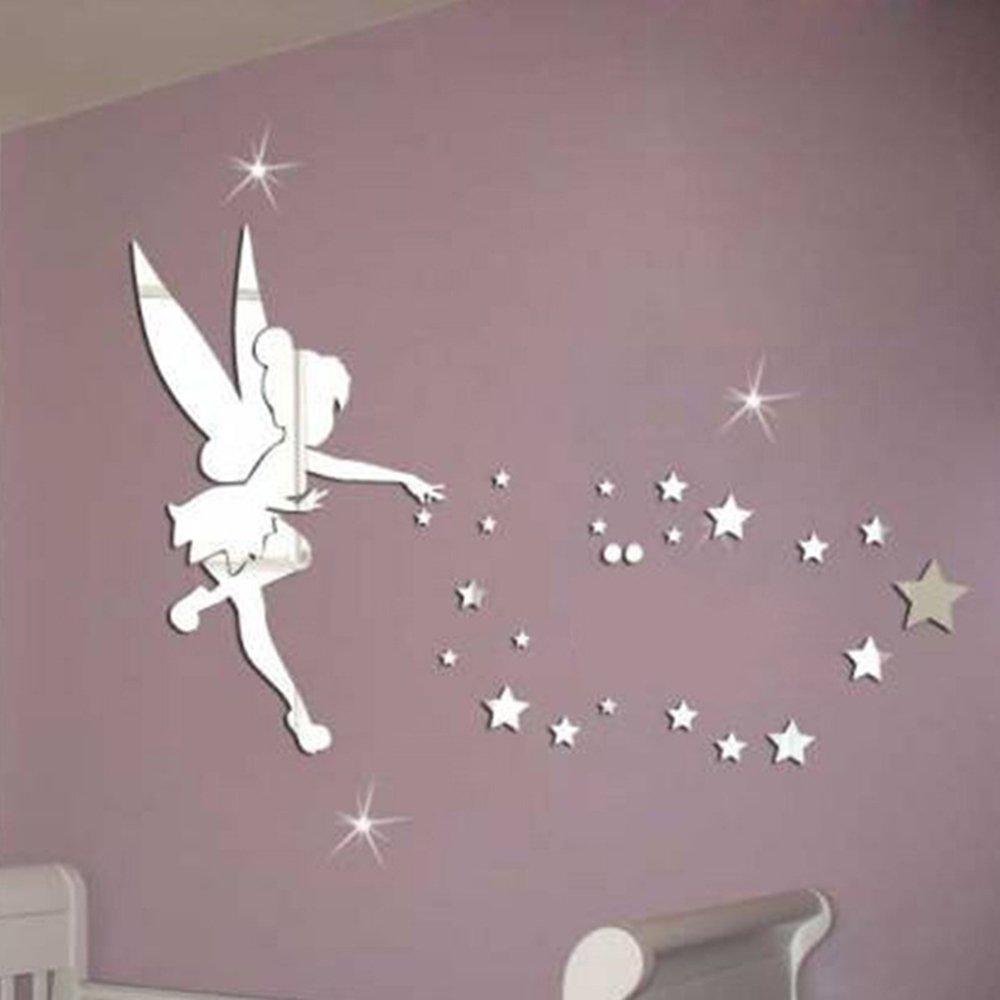 LifeUp- Adesivi Murali per Bambina Fatina Stelle Tono Specchio Argento Decorazione Camera da Letto Casa Idee Regalo Bambini Bimbi