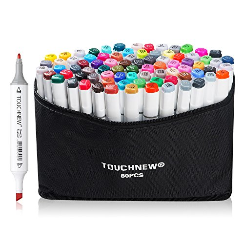 80 Set Color TOUCHNEW Alcohol Graphic Drawing Art Dual Tip Sketch Pen Art Sketch Twin Marker Pens Hand Painted Design Draft Pencil (Marker Pens Graphic)