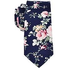 EasyJoy Skinny Ties Men's Cotton Printed Floral Necktie