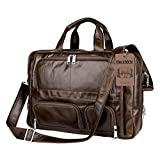 Leather Bag,Berchirly Vintage Expandable Men's Genuine Leather Briefcase Office Business Messenger Bag fits 16.7Inches Computer Notebook Tablet Ipad Air Wallet Purse Umbrella