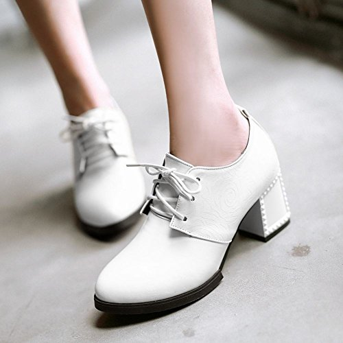Carol Shoes Womens Chic Lace-up Pointed-toe Casual Chunky Mid Heel Oxfords Shoes White WV6Wq6gB