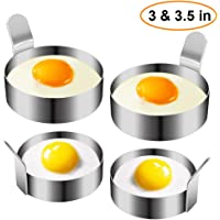 Egg Ring, Stainless Steel Omelet Mold Non Stick Pancake Ring Mold for Frying Egg, Egg Circles for Griddle (2 Sizes, 4 Pack)