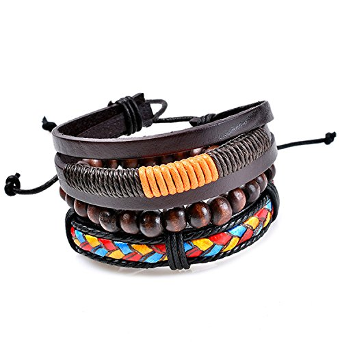 Young & Forever MenTastic Collection Brown Leather Wooden Beads Bracelet Pack of 3 For Men / Boy / B754 by Young & Forever