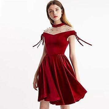 HECHEN Vestido de Mujer Malla Costura diseño Terciopelo Cintura ...