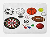 Lunarable Boy's Room Bath Mat, Variety Sports Icons Different Games Balls Dartboard Hockey Puck Pins, Plush Bathroom Decor Mat Non Slip Backing, 29.5 W X 17.5 W Inches, Multicolor