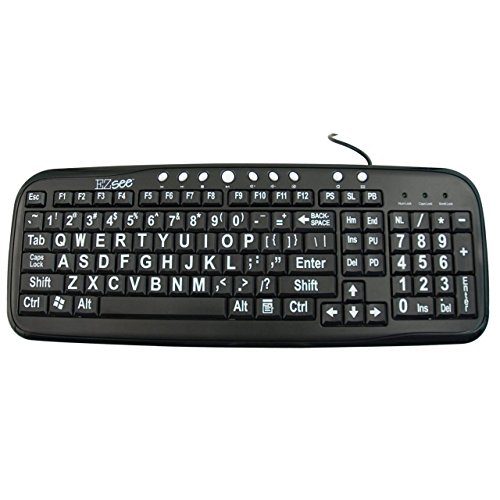 EZ See Large Print Keyboard-Black Keys-White Print (Certified Refurbished) ()