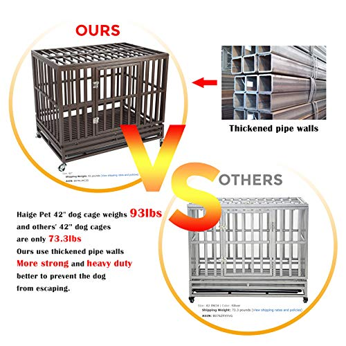 Haige Pet Your Pet Nanny 42'' Heavy Duty Dog Crate Cage Kennel and Playpen Steel Strong Metal for Medium and Large Dogs with Patent Lock and Four Lockable Wheels, Black by Haige Pet Your Pet Nanny (Image #1)