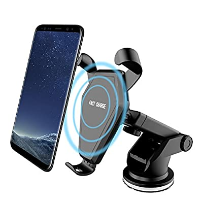 Wireless Car Charger, Qi Fast Charger Car Mount Air Vent Gravity Phone Holder Samsung Galaxy S8/S8+/S7 Edge/S6 Edge+, Standard Charger iPhone 8/8+/iPhone X All Qi-Enabled Devices by Beanco Tech