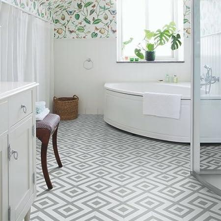 Geometric Grey And White Cushion Vinyl Flooring Sheet Lino Cairo