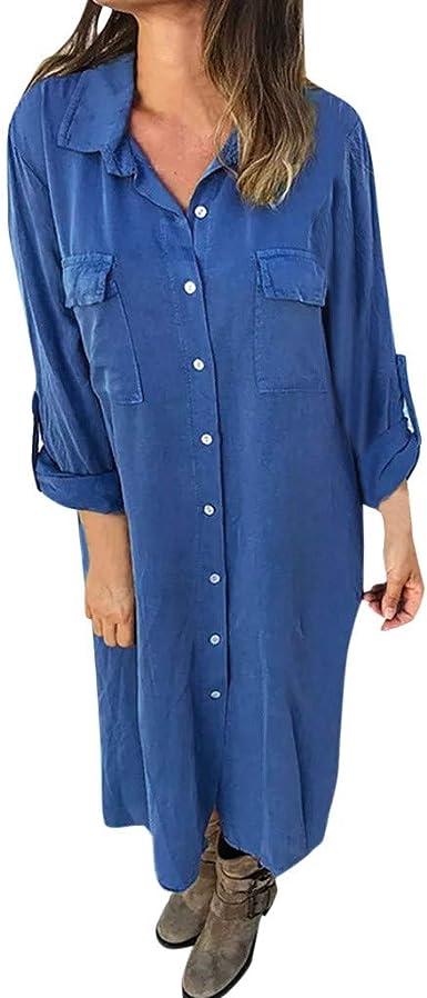 Aini Mujer Verano De Playa Ropa De Mujer Vestido De Botones De Moda Vestido Camisero Manga Larga Vestido Mujer Mujer Camiseta AlgodóN Casual Tallas Grandes Tallas Grandes Vestidos De Playa: Amazon.es: Ropa