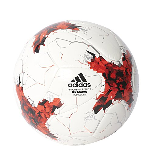 adidas Performance S1706LSB001TGLI Confederations Cup Top Glider Soccer Ball, White/Red/Power Red/Clear Grey, Size (Confederations Cup)