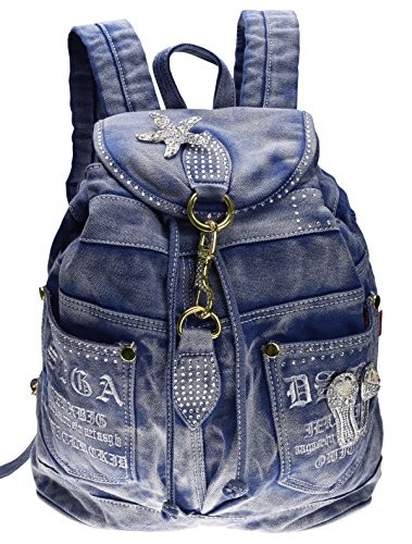 SAIERLONG MsBP Women's And Girl's Backpack School Bag Travel Bag blue jean