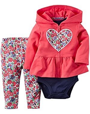 2 Piece Cardigan Set, Red Floral