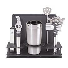 Oggi Pro Stainless Steel Cocktail Shaker and Bar Tool Set, 10-Piece