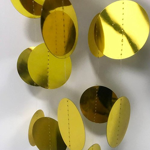 Ulikeparty Gold 3pcs pack,4.9ft L Shiny Gold Circle Garland .Decoratoin Circle -