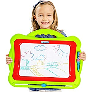 Little Painter Magnetic Drawing Board Toy for Kids Future Artists Multi-Color Drawing Screen Doodle Sketching Colorful Doddle Toy Writing Pad with Stamps Magnetic Erasable Travel Doodle Board Toy