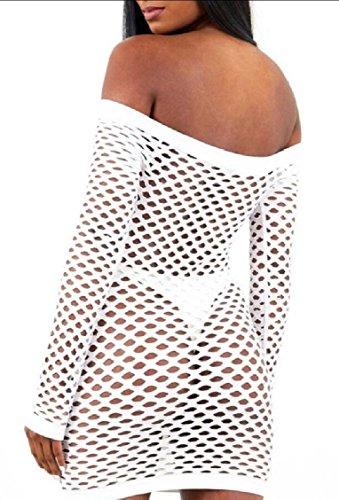 Jaycargogo Des Femmes De Résille Sexy De Manches Longues Maille Moulante Épaule Robe Moulante Blanche