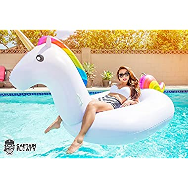 Captain Floaty Giant Unicorn Swimming Pool Float - 8' Inflatable Raft for Kids and Adults Holds Up to 400lbs - Inflates and Deflates Fast - Premium Quality Toy, Phthalate-Free