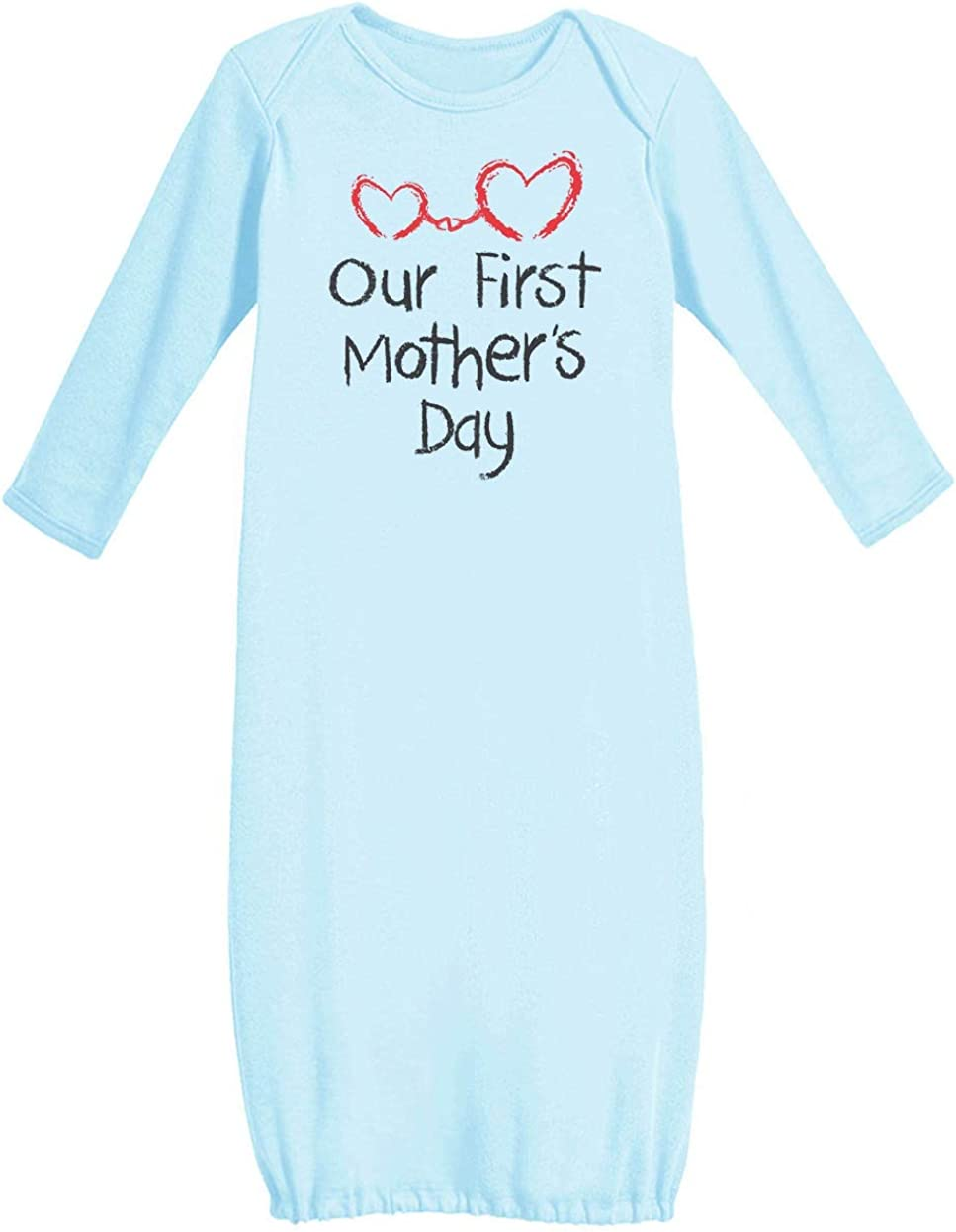Our First Mothers Day Mommy and Me Cute Newborn Baby Long Sleeve Gown Newborn Light Blue