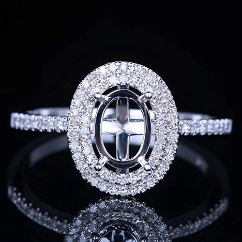 FidgetKute 5X7mm Oval Halo Engagement Wedding Semi Mount Fine Ring 10K White