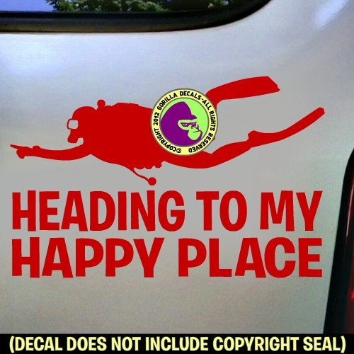 HEADING TO MY HAPPY PLACE Scuba Diver Diving Vinyl Decal Sticker E
