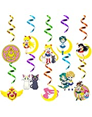 Xqumoi 30Ct Sailor Moon Hanging Swirls Decorations, Sailor Moon Whirls Glitter Foil Ceiling Swirls Streamers, Sailor Moon Themed Party Decoration Supplies for Kids Birthday Baby Shower Party Favors