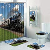 Philip-home 5 Piece Banded Shower Curtain Set Historic Steam Train Passes Through The Fields Decorate The Bath