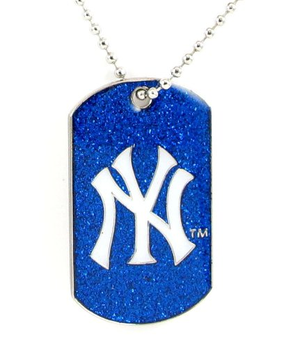 aminco MLB New York Yankees Dog Fan Tag Glitter Necklace