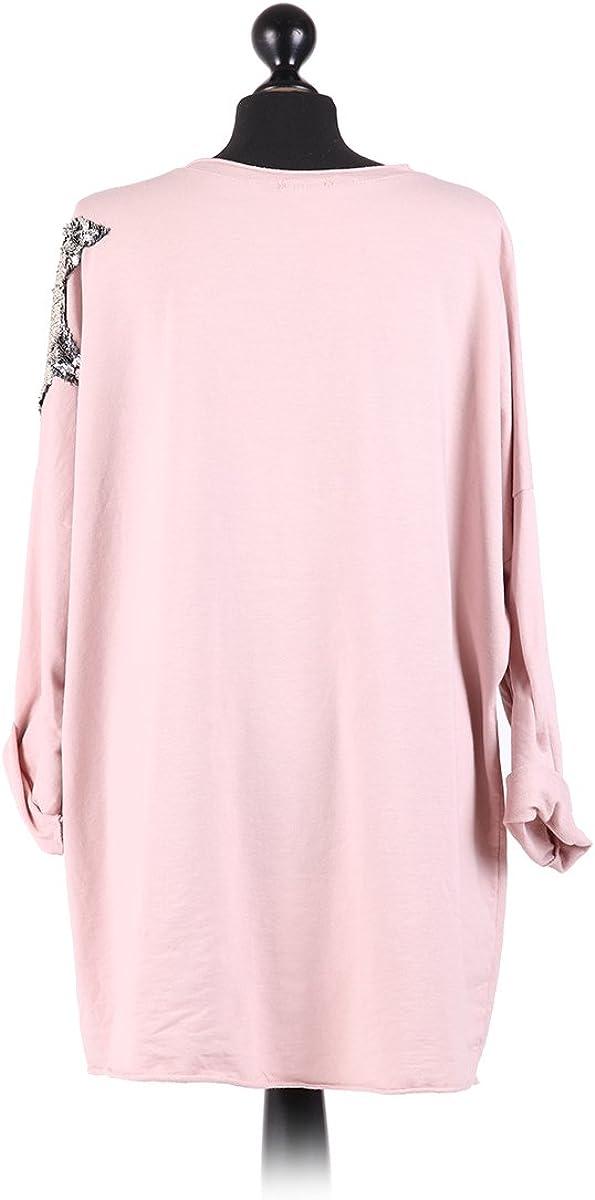 Ladies Italian Velvet Star Lagenlook Top Sequin Star Tunic Top Plus Sizes Light Pink