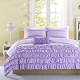 Teen Girls Ellen Purple 4-Pc Comforter Set Bedding Full/Queen Cute PB Vogue Bedspread Duvet For College Teenager