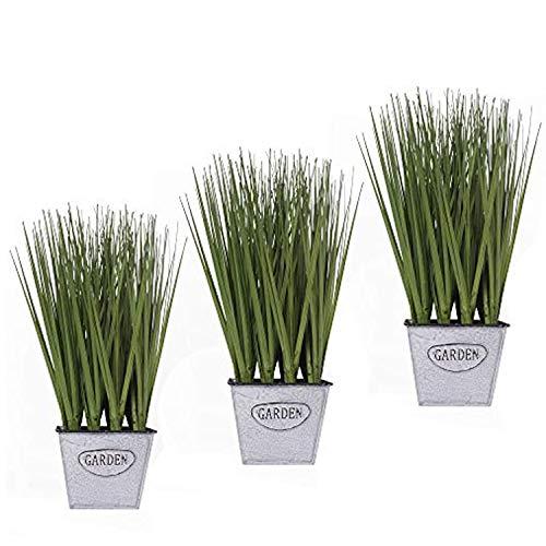 14 in. Artificial Herb Plants Bellflower Grass – Greenery Onion Grass in Metal Planter – Everyday Bear Grass Green…