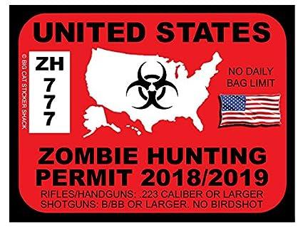 United states zombie hunting permit bumper sticker