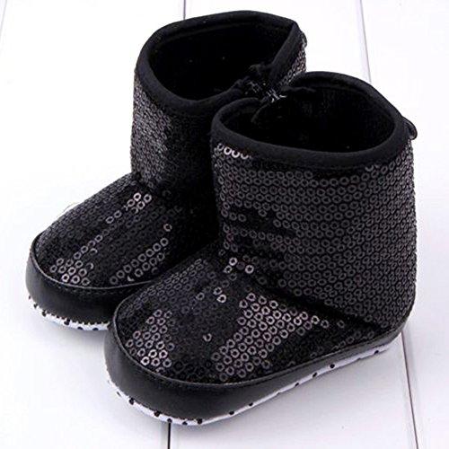 ESHOO recién nacido niños bebé invierno Nieve botines antideslizante suave única prewalker cuna zapatos negro negro Talla:6-9 meses negro