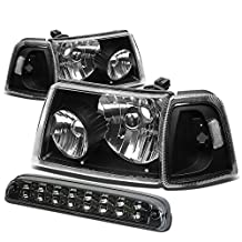 Ford Ranger Pair of Black Housing Clear Corner Headlight+Smoke Lens LED 3rd Brake Light