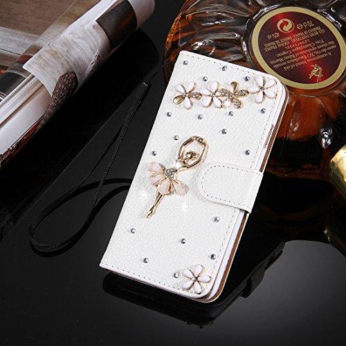 MXNET IPhone 7 Plus Case, Diamond verkrustete drei Schmetterlinge Pattern Horizontale Flip Leder Tasche mit magnetischen Wölbung & Card Slots & Handschlaufe CASE FÜR IPHONE 7 PLUS ( SKU : Ip7p4910n )