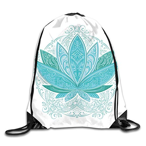 2019 Funny Drawstring Backpacks Bags Daypacks,Lotus Flower With Ornaments Ethnic Exotic Petals Mehndi Traditional Boho Design,Adjustable For Sport Gym Traveling