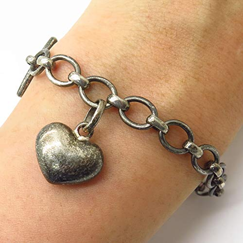- Links of London 925 Sterling Silver Dangling Heart Charm Toggle Bracelet 7 1/4