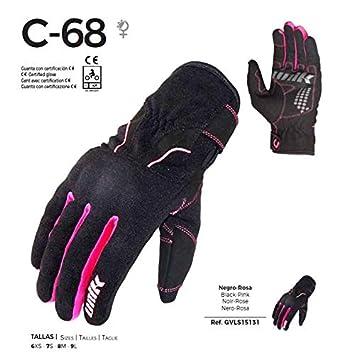 Homologu/és rose UNIK- C-68 Gants d/ét/é pour moto avec tissu ventil/é Couleur : noir//rose M Noir