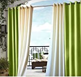 U.A.A. INC. 1pc 96 Outdoor Green Gazebo Curtain, Lime Color Outside Window Treatment Single, Cabana Polyester, Indoor Patio Screen Porch Deck Entrance Door Grommet Ring Top Doorway Pergola Drapes