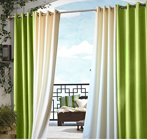 U.A.A. INC. 1pc 96 Outdoor Green Gazebo Curtain, Lime Color Outside Window Treatment Single, Cabana Polyester, Indoor Patio Screen Porch Deck Entrance Door Grommet Ring Top Doorway Pergola Drapes by U.A.A. INC.