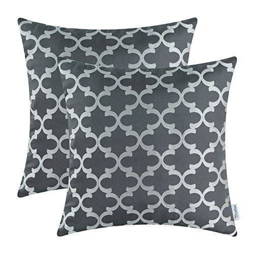 pack of 2 calitime soft throw pillow covers cases for couch sofa home decor modern quatrefoil accent geometric 18 x 18 inches grey